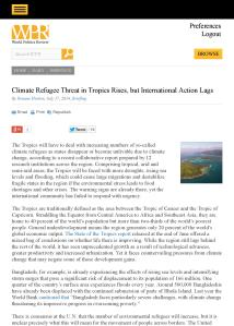 World Politics Review| Climate Refugees Threat in Tropics Rises, but International Action Lags
