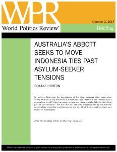 World Politics Review | Australia's Abbott Seeks to Move Indonesia Ties Past Asylum Seeker Tensions